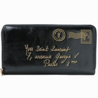 YSL Black Patent Leather Y-Mail Wallet