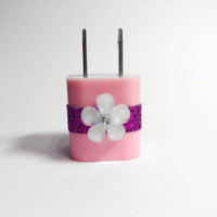 Flower & Glitter iPhone USB Charger by VanityCases on Etsy