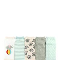 Elephant Graphic Ankle Socks - 5 Pack
