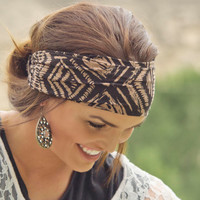 Expandable Boho Headwrap-Fabric 12 (Brown and black tribal print.)
