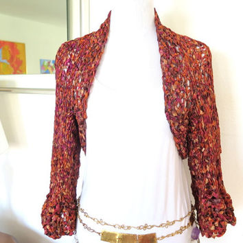 Satin ribbon bolero shrug, hand knit autumn toned sweater shrug, fancy knitwear