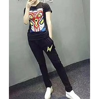 Women Fashion Cartoon Pattern Short Sleeve Casual Set Two-Piece Sportswear