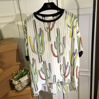 White Sheer Printed Short Sleeves Chiffon Top