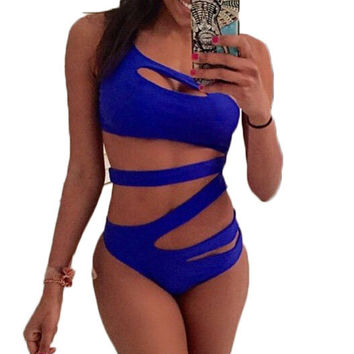 Hollow Out Bandage Swimsuit One Piece Swimsuit
