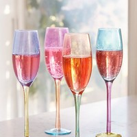 Assorted Colorblock Flute Glass - Set of 4 | Urban Outfitters