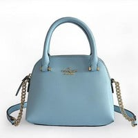 2018 New Kate Spade Women Fashion Mini Shopping Leather Tote Handbag Shoulder Bag Color Sky Blue