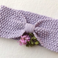 Cotton Knit Headband Turban,Lilac, Knit Cotton Headband,Handmade Headband,Spring Headband,Knit Hair Wrap,Knit Women Accessory,Gift for Her