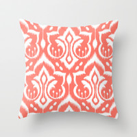 Ikat Damask Coral Throw Pillow by Patty Sloniger