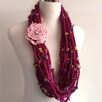 Cherry Blossom flowera hand crochet chain Infinity scarf with removable crochet flower - gift or for you