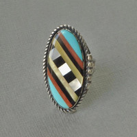 Signed Vintage NATIVE American Large Turquoise RING Inlay Spiny Oyster Black Onyx Mother Pearl STERLING Silver Rings Band Size 6, Gift Her