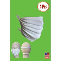 Stretchable elastic satin head loops washable reusable pack of 4 face mask