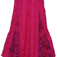Women's Gypsy Skirt Full Flowing Pink Passion Purple Aari Embroidery