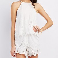 Floral Crochet Tiered Romper