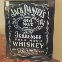 Vintage Jack Daniels Tennessee Whiskey Black And White Wall Hanging Liquor Sign