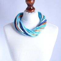 Blue Wool Necklace Made of Felted and Twisted Rope