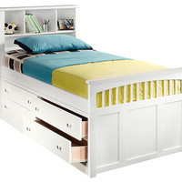 Laramie Twin Size Bookcase Captain's Bed