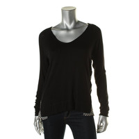 Red Haute Womens Knit Contrast Trim Pullover Top