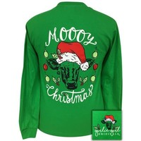 Girlie Girl Originals Preppy Moooy Christmas Cow Holiday Long Sleeve T-Shirt