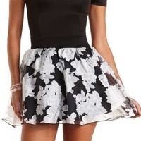Floral Organza Skater Skirt by Charlotte Russe - Black Combo
