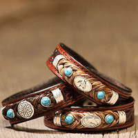 Tooled Leather Horse Hair Bracelet with Gems