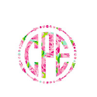 Lilly Pulitzer Arrow Monogram Decal for Yeti's, Cars, Laptops, and More! Lilly Monogram - Lilly Inspired - Monogram Sticker - Arrow Frame