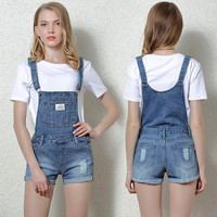 Spaghetti Strap Denim Ladies Slim Ripped Holes Pants Jeans [10201395399]