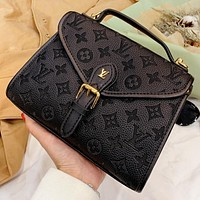 LV New fashion monogram leather handbag shoulder bag crossbody bag Black