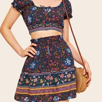 Tribal Ditsy Floral Crop Top With Skirt