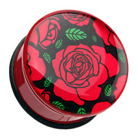 Romantic Rose Flower Single Flared Ear Gauge Plug