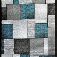 2094 Turquoise Square Contemporary Area Rugs