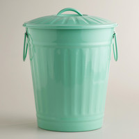 Mint Retro Galvanized Trash Can - World Market