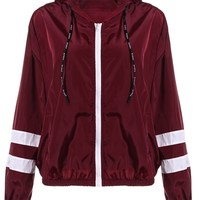 ZAN.STYLE Spring Women Contrast Ribbons Trim Zip Up Hooded Jacket Striped Patched Sleeve Girl Coat Outwear Jacket With Pocket