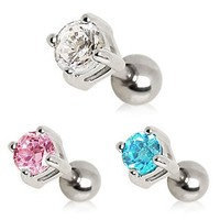 """316L Surgical Steel Cartilage Earrings/Tragus with Pink Round 4mm Gem - 16g (1.2mm), 1/4"""" (6mm) Length, Gem Size 4mm, Ball Size 4mm - Sold Individually"""