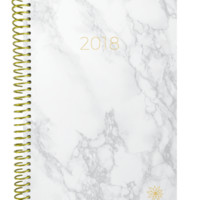 2018 Marble Print Daily Planner, Ivory White