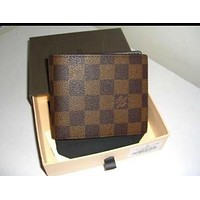 LV Louis Vuitton Popular Women Men Tartan Print Folding Leather Purse Wallet High Quality Coffee I
