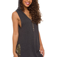 Wild World Hoodie Top - Charcoal