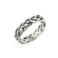 Narrow 4mm Neverending Celtic Knot Sterling Silver Pinky Band Ring Size 4(Sizes 3,4,5,6,7,8,9,10,11,12,13,14,15,16)