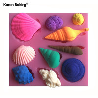 Beautiful Sea Shell And Conch Shape Silicone 3D Mold Cookware Dining Bar Non-Stick Cake Decorating Fondant Soap Mold C251