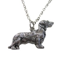 Silver Toned Weiner Dog Pendant Necklace
