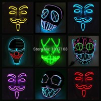 10 COLOR Option Vendetta EL wire Mask Flashing Cosplay LED MASK Costume Anonymous Mask for Glowing dance Carnival Party Masks