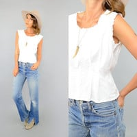 70's EMBROIDERED White Top