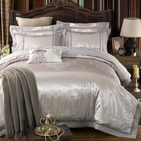 4/6Pcs Silver Color Luxury Jacquard Bedding set King Quee size Stain Cotton Bed set Bedsheet set Duvet cover Pillowcases