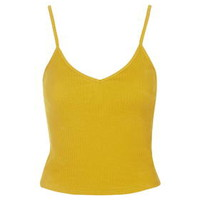 TALL Ribbed Cropped Cami - Yellow