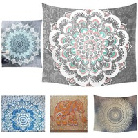 House Queen 150*130cm Indian Mandala Tapestry Hippie Wall Hanging Bohemian Bedspread Blanket Beach Customizable Room Decoration