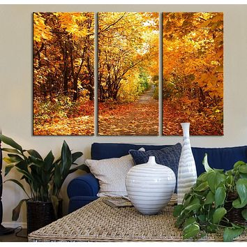 Large Wall Art Canvas Print Autumn in the Forest Modern Wall Art Print Giclee Print Ready to Hang