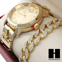 Men Hip Hop Lab Diamond Freemason Watch & Cuban Bracelet Gold Set 195G