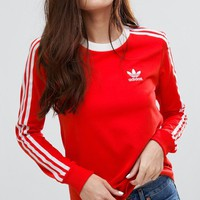 adidas Originals Red Three Stripe Long Sleeve Tee T-Shirt