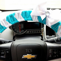 Teal and White Chevron Steering Wheel Cover with Bow