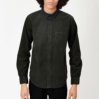The Idle Man Long Sleeve Corduroy Shirt Green