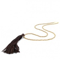 Chocolate Brown Leather Tassel Necklace